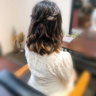 ヘアアレンジ 編み込みヘア ハーフアップ 編み込み ヘアスタイルや髪型の写真・画像