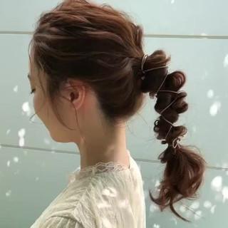 大人かわいい 簡単ヘアアレンジ フェミニン ロング ヘアスタイルや髪型の写真・画像