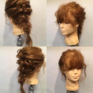 編み込み ヘアアレンジ セミロング フェミニン ヘアスタイルや髪型の写真・画像 ヘアスタイルや髪型の写真・画像