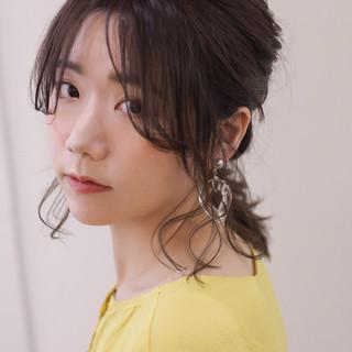 大人かわいい くるりんぱ 簡単ヘアアレンジ フェミニン ヘアスタイルや髪型の写真・画像