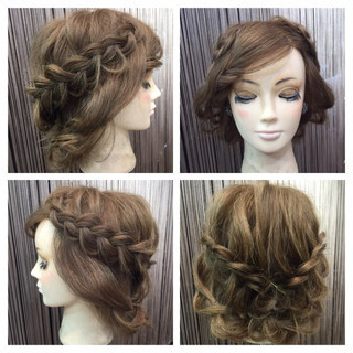 波ウェーブ 編み込み ロープ編み ブライダル ヘアスタイルや髪型の写真・画像