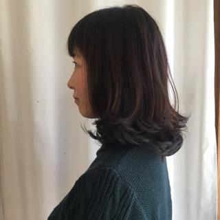 こなれ感 ニュアンス ロブ ミディアム ヘアスタイルや髪型の写真・画像