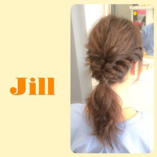 編み込み 簡単ヘアアレンジ ショート ローポニーテール ヘアスタイルや髪型の写真・画像 ヘアスタイルや髪型の写真・画像