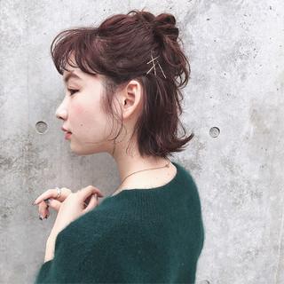 デート ボルドー ナチュラル 簡単ヘアアレンジ ヘアスタイルや髪型の写真・画像