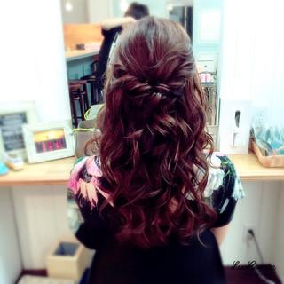 ハーフアップ ヘアアレンジ セミロング 大人かわいい ヘアスタイルや髪型の写真・画像