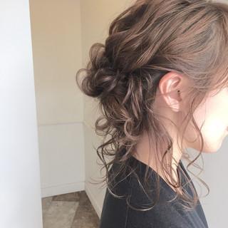 後れ毛 ショート ハーフアップ 簡単ヘアアレンジ ヘアスタイルや髪型の写真・画像