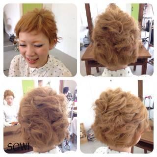 編み込み ヘアアレンジ 簡単ヘアアレンジ ショート ヘアスタイルや髪型の写真・画像