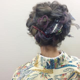 ボブ ヘアアレンジ 結婚式 ダブルカラー ヘアスタイルや髪型の写真・画像