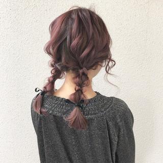 ヘアアレンジ 編み込み ガーリー アンニュイほつれヘア ヘアスタイルや髪型の写真・画像