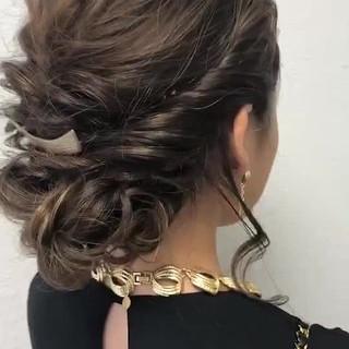 アップスタイル 結婚式 簡単ヘアアレンジ エレガント ヘアスタイルや髪型の写真・画像