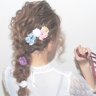 ヘアアレンジ 愛され セミロング ゆるふわ ヘアスタイルや髪型の写真・画像