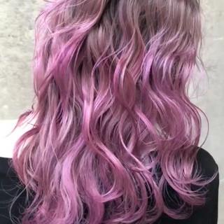 ピンク 外国人風カラー ロング ラベンダーピンク ヘアスタイルや髪型の写真・画像