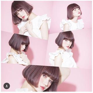 メッシュ レッド ピンク ボブ ヘアスタイルや髪型の写真・画像