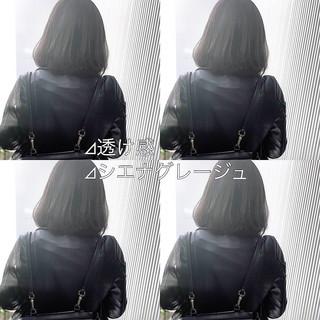 グレージュ アッシュグレージュ ミディアム ストレート ヘアスタイルや髪型の写真・画像 ヘアスタイルや髪型の写真・画像