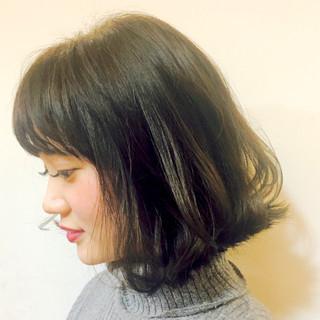黒髪 暗髪 モード 前髪あり ヘアスタイルや髪型の写真・画像