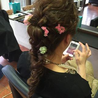 ディズニー 波ウェーブ 編み込み ロング ヘアスタイルや髪型の写真・画像