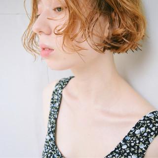 デート ガーリー フェミニン ボブ ヘアスタイルや髪型の写真・画像