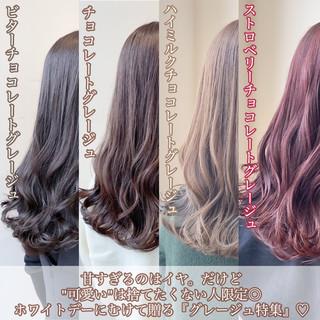 透明感カラー ナチュラル ブリーチなし ピンクアッシュ ヘアスタイルや髪型の写真・画像