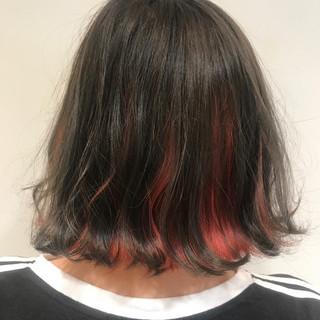 ボブ レッド インナーカラー ピンク ヘアスタイルや髪型の写真・画像