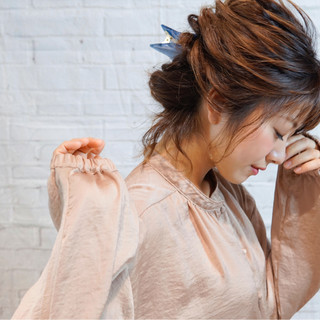 ゆるふわ 簡単ヘアアレンジ ショート ミディアム ヘアスタイルや髪型の写真・画像