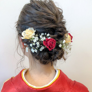 デート セミロング 簡単ヘアアレンジ 結婚式 ヘアスタイルや髪型の写真・画像