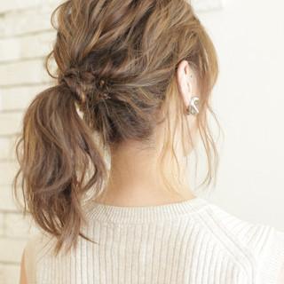 大人女子 アッシュ セミロング ハイライト ヘアスタイルや髪型の写真・画像