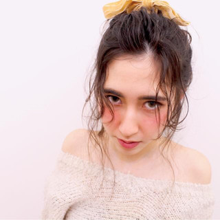 後れ毛 ゆるふわ ロング 簡単ヘアアレンジ ヘアスタイルや髪型の写真・画像