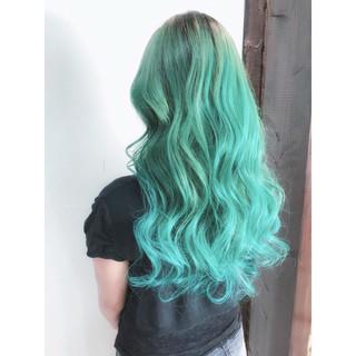 ミント ストリート セミロング グリーン ヘアスタイルや髪型の写真・画像 ヘアスタイルや髪型の写真・画像