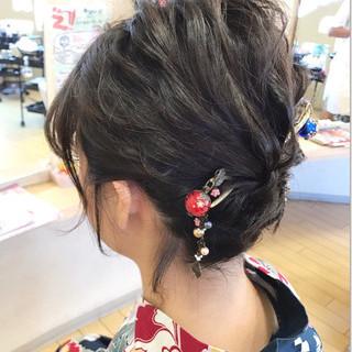 和服 アップスタイル ショート ねじり ヘアスタイルや髪型の写真・画像