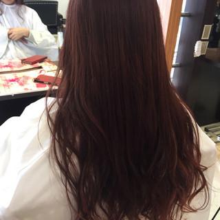 ロング ピンク カール グラデーションカラー ヘアスタイルや髪型の写真・画像