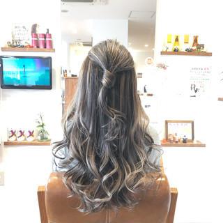 外国人風カラー ロング メッシュ 結婚式 ヘアスタイルや髪型の写真・画像