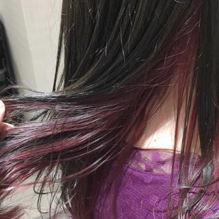 アッシュ インナーカラー 美髪 ピンクバイオレット ヘアスタイルや髪型の写真・画像