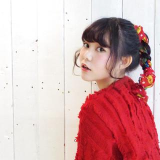 ポニーテール ヘアアレンジ フェミニン ヘアアクセ ヘアスタイルや髪型の写真・画像
