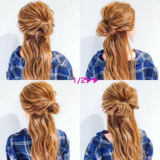 簡単ヘアアレンジ 上品 ロング オフィス ヘアスタイルや髪型の写真・画像