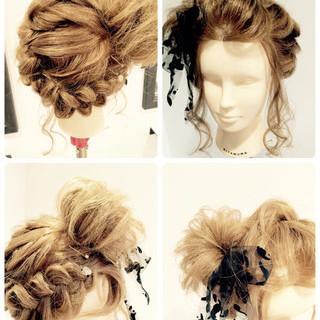 夏 和装 お祭り 編み込み ヘアスタイルや髪型の写真・画像
