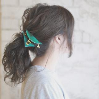 簡単ヘアアレンジ セミロング 夏 パーティ ヘアスタイルや髪型の写真・画像 ヘアスタイルや髪型の写真・画像