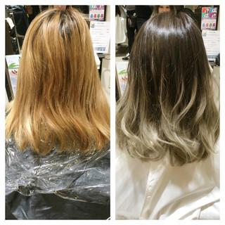 ハイライト アッシュ グラデーションカラー ミディアム ヘアスタイルや髪型の写真・画像