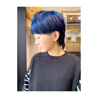 ネイビー マッシュ パープル ウルフカット ヘアスタイルや髪型の写真・画像