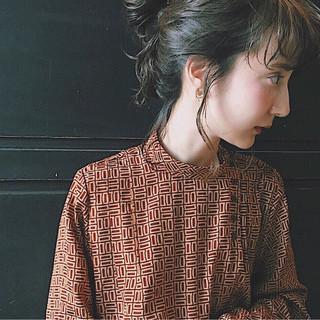 前髪あり 大人女子 ミディアム 簡単ヘアアレンジ ヘアスタイルや髪型の写真・画像 ヘアスタイルや髪型の写真・画像