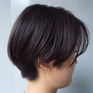 黒髪ショート デート ナチュラル ハンサムショート ヘアスタイルや髪型の写真・画像
