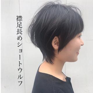 ウルフ女子 モード ショート ウェットヘア ヘアスタイルや髪型の写真・画像