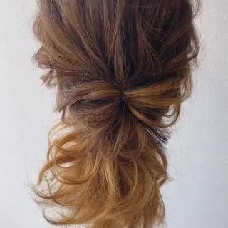 コテ巻き 簡単ヘアアレンジ セミロング ゆるふわ ヘアスタイルや髪型の写真・画像