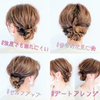 結婚式 くるりんぱ デート 簡単ヘアアレンジ ヘアスタイルや髪型の写真・画像
