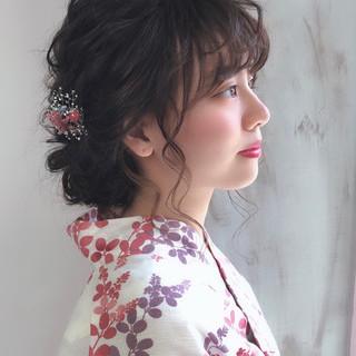 セミロング お祭り ガーリー 花火大会 ヘアスタイルや髪型の写真・画像
