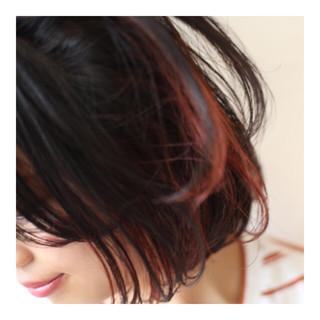 ナチュラル ダブルカラー ブリーチ ボブ ヘアスタイルや髪型の写真・画像
