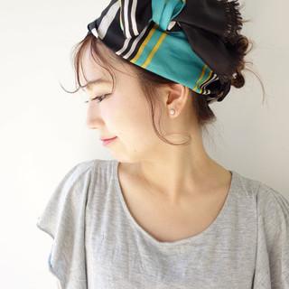 ショート 簡単ヘアアレンジ ピュア セミロング ヘアスタイルや髪型の写真・画像