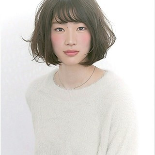 パーマ フェミニン 前髪あり ボブ ヘアスタイルや髪型の写真・画像