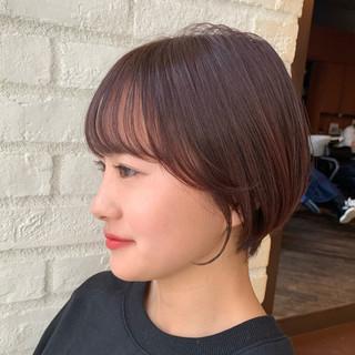 簡単ヘアアレンジ ミニボブ ナチュラル ショート ヘアスタイルや髪型の写真・画像