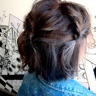ボブ インナーカラー グラデーションカラー ヘアアレンジ ヘアスタイルや髪型の写真・画像