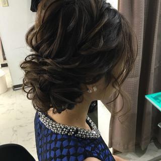 結婚式 ミディアム ヘアアレンジ 編み込み ヘアスタイルや髪型の写真・画像